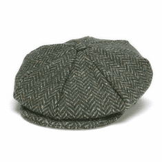 Hanna Hats Eight Piece Cap Green Herringbone