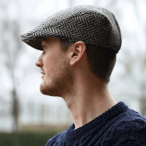 Hanna Hats Herringbone Donegal Tweed Touring Cap