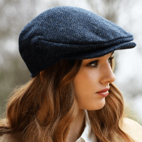 Hanna Hats Vintage Caps Herringbone Blue