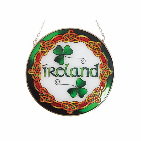 Ireland Round Stained Glass Panel