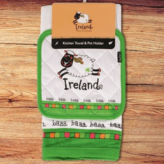 Ireland Sheep Kitchen Towel and Pot Holder