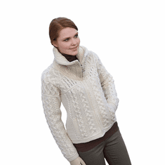 Irish Aran Knit Zipper Sweater