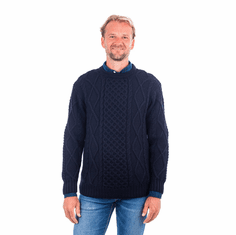 Irish Aran Style Wool Blend Sweater