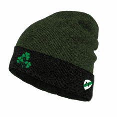 Irish Black/Green Shamrock Knit Hat