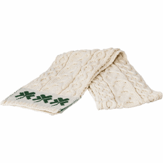 Irish Cable Knit Scarf with Shamrocks