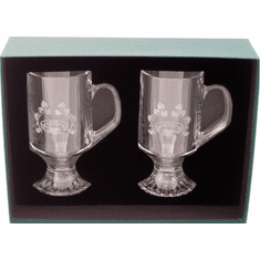 Irish Coffee Etched Claddagh Mugs ( set of 2 )