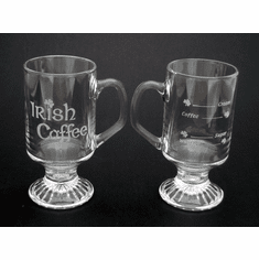 Irish Coffee Etched Recipe Mugs ( set of 2 )