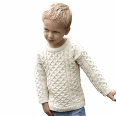 Irish Crew Neck Wool Sweater For Kids