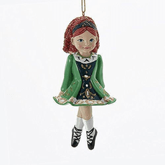 Irish Girl Dancer in Green Dress Christmas Ornament Kurt Adler.  Approx 4.5""