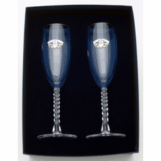 Irish Pair of Flutes With Silver Plated Pewter Claddagh