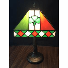 Irish Shamrock and Colors Stained Glass Lamp