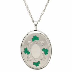 Irish Shamrock Locket Necklace