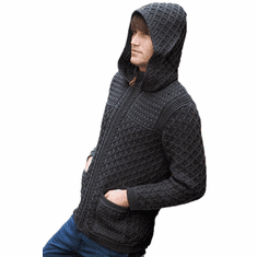 Irish Wool Sweater Jacket Charcoal