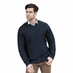 Irish Wool V-Neck Sweater