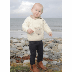Kids Aran Button Crew Sheep Sweater