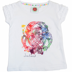Kids Celtic Knot Print Ireland Frill T-Shirt