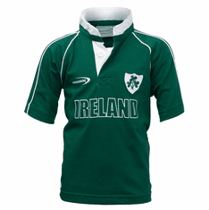 Kids Green Performance Short Sleeve Rugby Shirt