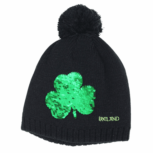 Navy Kids Irish Shamrock Sequin Bobble Hat
