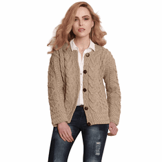 Ladies Aran Cable Knit Cardigan