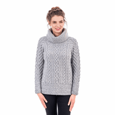 Ladies Aran Cowl Neck Sweater
