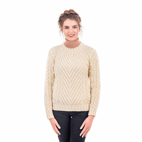 Ladies Aran Crew Neck Ribbed Sweater
