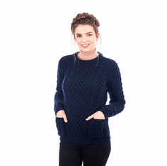 Ladies Aran Crew Neck Sweater. Made in Ireland