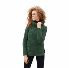 Aran Cowl Neck Tunic Sweater - Made in Ireland