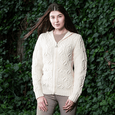 Ladies Hooded Celtic Cardigan