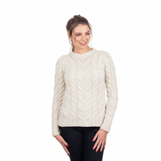 Ladies Irish Multi Cabled Raglan Super Soft Merino Wool Sweater