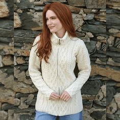 Ladies Irish Zipper Cardigan