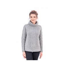 Ladies Knit Funnel Neck Supersoft Wool Sweater