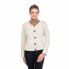 Ladies Large Irish Cable Wool Cardigan