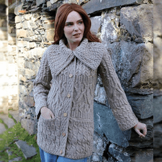 Ladies Long 3-Pattern Collared Merino Cardigan