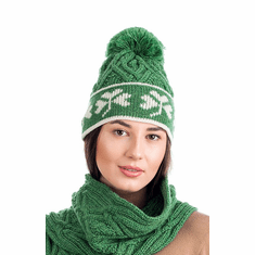 Ladies Merino Wool Shamrock Aran Hat With Bobble