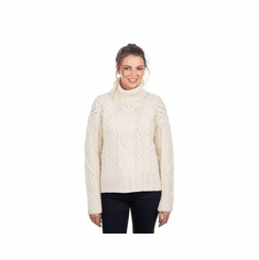 Ladies Roll Neck Aran Sweater