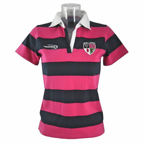 Lansdowne Navy Pink Ireland 4 Province Ladies Short Sleeve Rugby