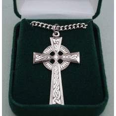 "Large Celtic Cross Medal Sterling Silver 24"" Chain"