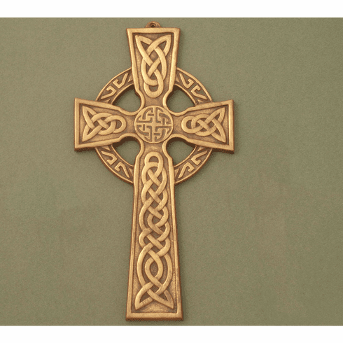 Large Celtic Wall Cross / Celtic Knot center / Antique Brass