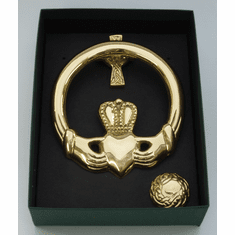 Large Claddagh Brass Door Knocker Cross Back