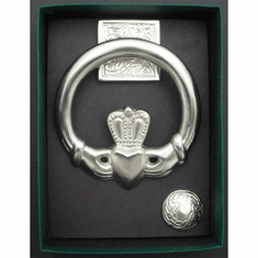 Large Claddagh Door Knocker/square back Satin Nickel Silver