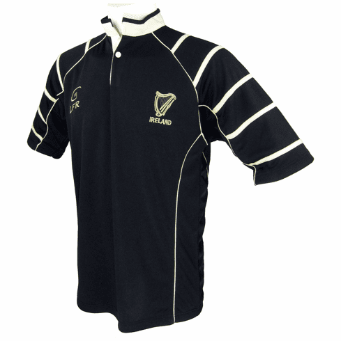 Live For Rugby Black Irish Harp Breathable Rugby Shirt