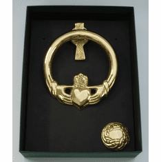 Medium Brass Claddagh Door Knocker Cross Back