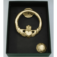 Medium Brass Claddagh Door Knocker Round Back