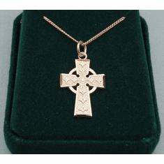 Medium Celtic Cross Medal Gold-plated Sterling Silver 3/4""