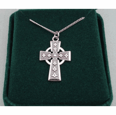 "Medium Celtic Cross Medal Sterling SIlver 18"" Chain"