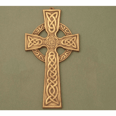 Medium Celtic Wall Cross / Celtic Knot center / Antique Brass