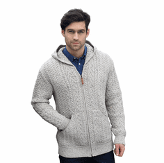Men's Hooded Aran Zip Sweater Coat