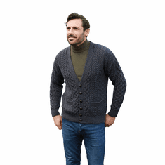 Men's Merino Wool Irish V-Neck Knit Cardigan