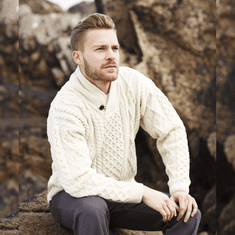 Men's One Button Shawl Collar Wool Cable Sweater