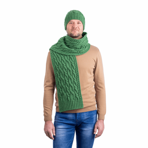 Men's Traditional Merino Wool Knit Scarf